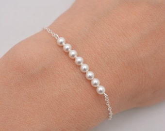 Set of 8 Pearl Bracelets, Sterling Silver, 8 Bridesmaid Bracelets, Pearl Row Bracelets 0308