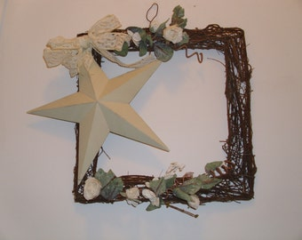 REDUCED  14 x 14 square grapevine star victorian wreath