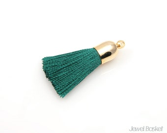 2pcs - Turquoise Thread tassel with Gold Cap - Small / green / 16k gold plated / gold plated / cotton / yarn / 8mm x 32mm / ETQG004-T