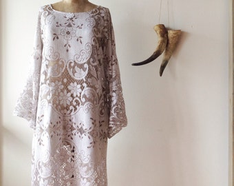 Womens Vintage Nottingham Lace Dress.size 8 to 14.made to order.