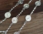1m silver tone Chain flower chain