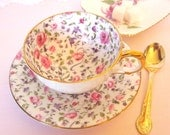 Antique Teacup and Saucer Set Pink Roses and Purple Floral Chintz Bartley China England Bone China Tea Cup | Tea Party Bridal Favor Gift