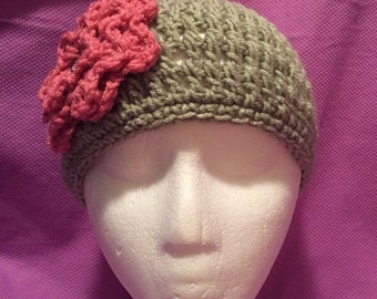 Light Sage Crocheted Beanie w/Rose Flower w/Crystal Button One Size Fits Most Adults/Teens 142