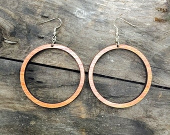 Wood Hoop Earrings from Reclaimed Natural Mahogany