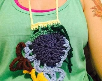 Freeform Crochet Pouch Necklace