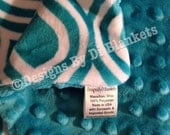 Teal Minky Blanket  Minky Baby Blanket,  Blue Baby Bedding, Boy or Girl Bedding ,Adult Throw Blanket