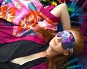 Liberty Print Cotton Floral Sleep Mask with Navy 100% Silk Reverse