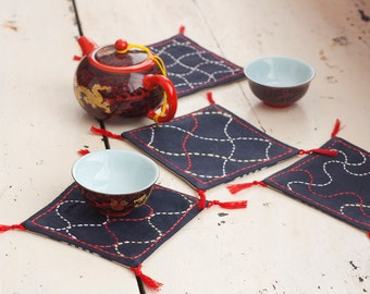 Black, white and red denim sashiko coasters set of 4, traditional japanese embroidery, tribal craft, fabric houseware