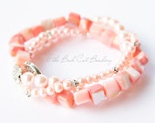 Pink Beaded Stack Stretch Bracelets Trio Comfortable Silver Faux Clasp Pink Pearl Pink Shell Jewelry