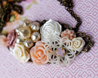 Pink Collage Necklace, Pink Bridesmaid Necklace, Bridal Collage Bib Necklace