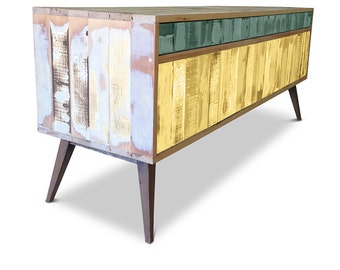 Retro Modern Mid Century Industrial Recycled Shabby Chic Country Farmhouse Sideboard / Buffet / Entertainment Unit - Green & Yellow