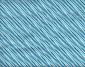 Polar Pals - Blue and white diagonal stripe flannel fabric - by the YARD
