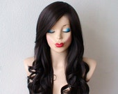 Chocolate Brown wig. Long  curly hair long side bangs quality wig for daytime use or Cosplay.