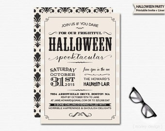 Vintage Halloween Invitation Printable Digital Invitation Typography Black Vintage Colors Spooktakular Halloween Party