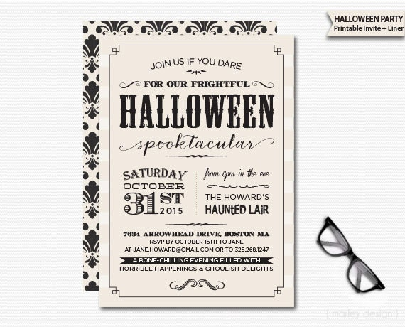 Vintage halloween invitation printable digital invitation for Vintage halloween party invitations