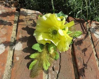 Yellow Poppy Flower corsage.