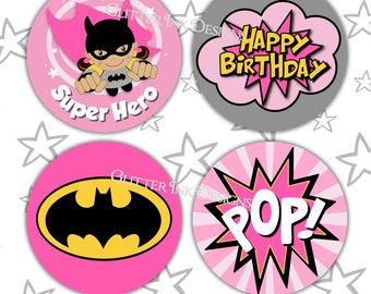 Flying Super Hero party PINK BATGIRL pdf printable party circles - for cupcake toppers / favor treat bag tags for superhero birthday party