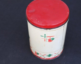 vintage cream & red small metal kitchen canister