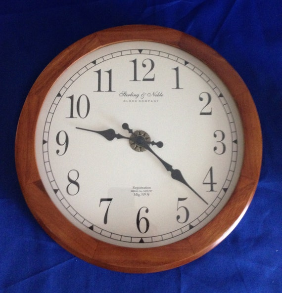 1980s Sterling Amp Noble Battery Operated Wall Clock No 9