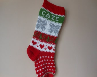 Personalized Christmas Stocking Hand Knitted With Snowlakes Christmas Gift Christmas Decoration
