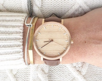 Wood Watch, Cherry Wood Rose Gold Watch, Women's Watch, Brown Leather Strap - HELM-CR