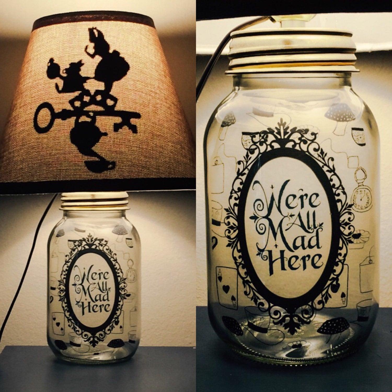 zoom. Alice in Wonderland inspired Mason Jar Character Lamp