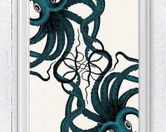 Vintage octopus dance -sea life print- Blue octopus collage- vintage natural history- Octopus SPOJ055