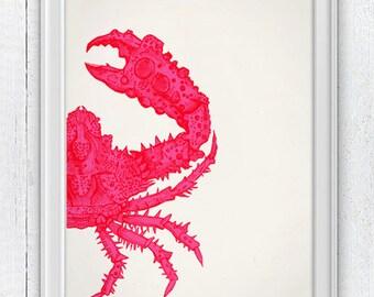 Fuchsia crab sea life print - Wall decor poster - Marine  sea life illustration A4 print-  Modern Crab print SPA04