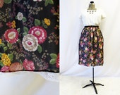 Plus Size - Vintage 1960s Black Floral Chiffon Lace Trim Skirt (Size 13/14)