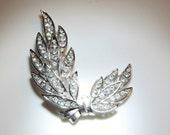 Trifari Crystal Leaf Brooch