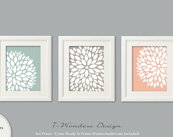 Neutral Flower Bursts Art Prints, Dahlia Wall Art Set of (3) 5x7, 8x10 OR 11x14 // Seafoam Khaki Bedroom Bathroom Home Decor, UNFRAMED