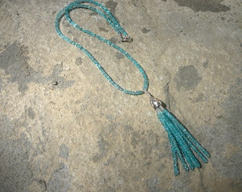 Tassel Necklace, Tassel Jewelry, Gemstone Necklace, Apatite Necklace, Apatite Jewelry, Aquamarine Necklace, Aquamarine Jewelry, Blue Jewelry