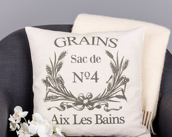 Vintage French Grain Sack Pillow Cushion Cover