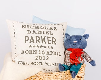 Personalised New Baby Pillow Cover