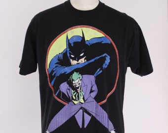 80s BATMAN & The JOKER T-SHIRT / 1980s 50/50 Soft Logo Print Tee Tshirt L