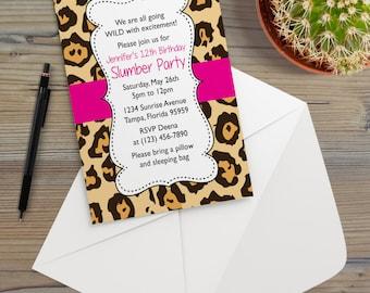 Instant Download - Cheetah Leopard Bright Pink Animal Print Safari Jungle Chic Slumber Birthday Party Invitation Template