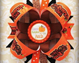 Fall pumpkin patch stacked layered hair bow