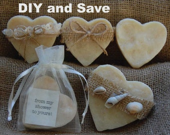 DIY Soap favors - Bridal shower favors - Wedding favors - soap favors - heart soap favors - beach favors - nautical favors