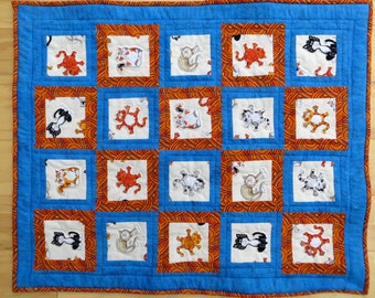 "Baby Quilt - ""Fearless Felines"""