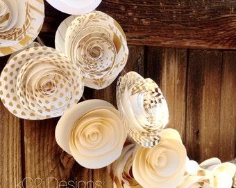 Paper Flower Garland. gold garland. Wedding Garland. Gold garland. Ivory garland. White garland.  Mantle decor. silver garland. Gold. Silver