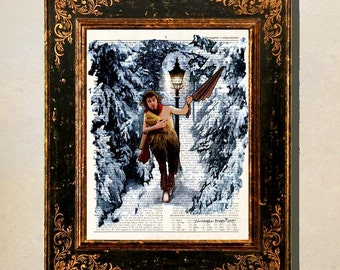 "Dictionary Page Print: -  ""Chronicles of Narnia - Mr. Tumnus"" -up-cycled book page, Lion, Witch and the Wardrobe print"