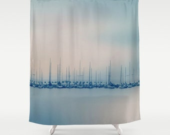 shower curtain sails sailboats sea ocean sky nature photograpy by rdelean designs