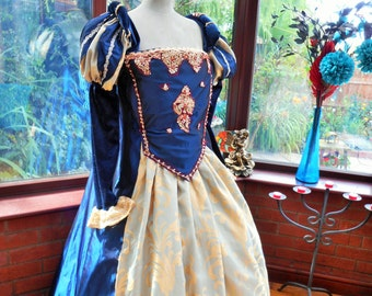 Custom made Medieval gown & matching headress Anne Bolyne Tudor queen fairy princess stage party banquet