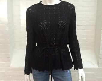 vintage black sweater // Castleberry belted knit top // 1970s // large