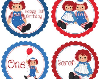 Raggedy Ann Party Circles - Red Blue, First Birthday, Raggedy Ann and Andy Personalized Birthday Party Circles - A Digital Printable File