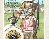 Happy Birthday, Champion girl with gun, sewing thread and her helmet, rifle shotgun trophy shooting range, by River Spring greeting card