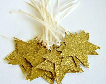 Wish Tree Wedding Tags - Favor Tags - Gold Glitter Stars - Wishing Tree Decor- Bridal or  Baby Shower Tags - Star Gift Tags 12 Pcs