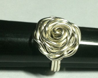 Rose Ring, wire-wrapped, made of 16g silver plated wire, any size, Burning man jewelry