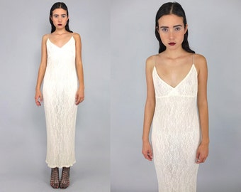 Vtg 90s Ivory White Floral Crochet Deep V Maxi Dress S M