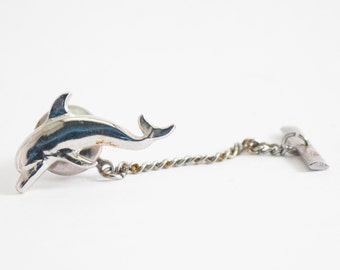 Vintage Tie Pin-  Dolphin Tie Tack (Silver Toned Metal) Porpoise Ocean, Animal, Fall Formal Wedding For Him For Dad Aquatic Mammal Fish